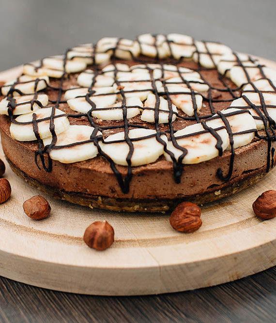 Raw Nutella Banana Cake - prajitura nutella banana - Greenlicious Oradea